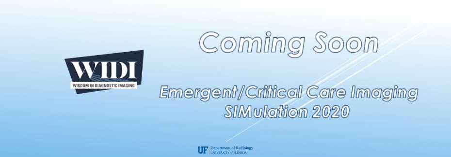 WIDI Emergent/Critical Care Imaging SIMulation 2020 - Coming Soon